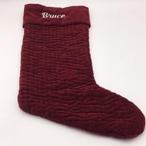 """Pottery Barn Velvet Christmas Stocking Red """"Bruce"""""""